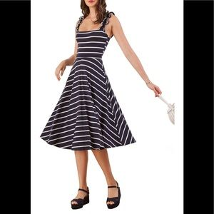 NWT Reformation Striped Eda Ruffle Dress Size M